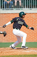 Mikal Hill (8) of the Charlotte 49ers follows through on his swing against the Canisius Golden Griffins at Hayes Stadium on February 23, 2014 in Charlotte, North Carolina.  The Golden Griffins defeated the 49ers 10-1.  (Brian Westerholt/Four Seam Images)
