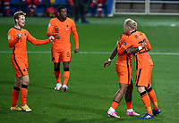 Football: Uefa Nations League Group A match Italy vs Netherlands at Gewiss stadium in Bergamo, on October 14, 2020.<br /> Netherlands' Luuk de Jong (r) celebrates after scoring with his teammates during the Uefa Nations League match between Italy and Netherlands at tGewiss stadium in Bergamo, on October 14, 2020. <br /> UPDATE IMAGES PRESS/Isabella Bonotto
