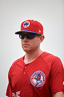 Buffalo Bisons pitcher Murphy Smith (35) walks to the dugout during a game against the Indianapolis Indians on August 17, 2017 at Coca-Cola Field in Buffalo, New York.  Buffalo defeated Indianapolis 4-1.  (Mike Janes/Four Seam Images)