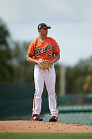 Baltimore Orioles pitcher Gray Fenter (69) gets ready to deliver a pitch during a Florida Instructional League game against the Pittsburgh Pirates on September 22, 2018 at Ed Smith Stadium in Sarasota, Florida.  (Mike Janes/Four Seam Images)