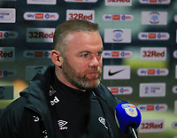 20th April 2021; Deepdale, Preston, Lancashire, England; English Football League Championship Football, Preston North End versus Derby County; Derby County manager Wayne Rooney gives a post match tv interview