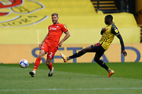 Martin Cranie of Luton Town (2) under pressure from Ken Sema (12) of Watford during the Sky Bet Championship match between Watford and Luton Town at Vicarage Road, Watford, England on 26 September 2020. Photo by David Horn.