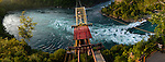 Panoramic view of a cable aero car above the Whirlpool Niagara Falls Ontario Canada during sunset