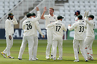 Stuart Broad of Nottinghamshire celebrates taking the wicket of Sir Alastair Cook during Nottinghamshire CCC vs Essex CCC, LV Insurance County Championship Group 1 Cricket at Trent Bridge on 6th May 2021