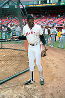 SAN FRANCISCO, CA - Bobby Bonds of the San Francisco Giants watches batting practice before an old timers game at Candlestick Park in San Francisco, California in 1988. Photo by Brad Mangin