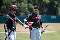 STANFORD, CA - MAY 29: Christian Robinson, Adam Crampton during a game between Oregon State University and Stanford Baseball at Sunken Diamond on May 29, 2021 in Stanford, California.