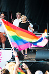 Madrid Mayor Manuela Carmena and the Gay Pride flag during the protest Madrid Pride 2016. July 02. 2016. (ALTERPHOTOS/Borja B.Hojas)