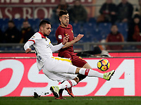 Calcio, Serie A: AS Roma - Benevento, Roma, stadio Olimpico, 11 gennaio 2018.<br /> Benevento's Berat Djimisti (l) in action with Roma's Stephan El Shaarawy (r) during the Italian Serie A football match between AS Roma and Benevento at Rome's Olympic stadium, February 11, 2018.<br /> UPDATE IMAGES PRESS/Isabella Bonotto