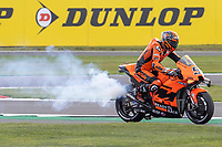 28th August 2021; Silverstone Circuit, Silverstone, Northamptonshire, England; MotoGP British Grand Prix, Qualifying Day; Smoke pours out of the Tech3 KTM Factory Racing bike of Danilo Petrucci