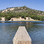 Boat dock, floating wooden dock at boat launch, Lake Hennessey Recreation Area, a reservoir for the city of Napa, California water supply.  Conn Creek Dam blocks Conn Creek above the Napa Valley near town of St. Helena, California.
