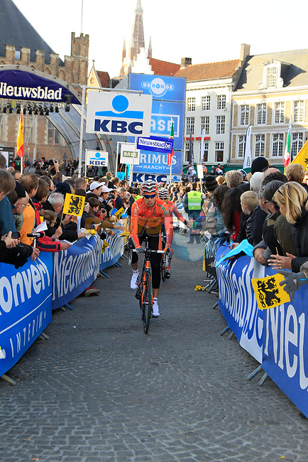 Ricardo Garcia Ambroa (ESP) Euskaltel-Euskadi arrives at sign on before the start of the 96th edition of The Tour of Flanders 2012 in Bruges Market Square, running 256.9km from Bruges to Oudenaarde, Belgium. 1st April 2012. <br /> (Photo by Eoin Clarke/NEWSFILE).