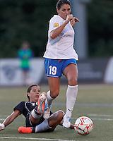 Despite pressure, Boston Breakers defender Bianca D'Agostino (19) brings the ball forward. In a Women's Premier Soccer League Elite (WPSL) match, the Boston Breakers defeated New York Fury, 2-0, at Dilboy Stadium on June 23, 2012.
