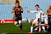 25th April 2021; Ricoh Arena, Coventry, West Midlands, England; English Premiership Rugby, Wasps versus Bath Rugby; Will Rowlands of Wasps looks to charge down a box kick from Ben Spencer of Bath Rugby