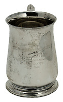 BNPS.co.uk (01202) 558833. <br /> Pic: Spink&Son/BNPS<br /> <br /> Pictured: Tubby's well-used beer tankard is part of the sale<br /> <br /> The bravery medals of a larger-than-life hero Pathfinder pilot who clocked up a staggering 100 bombing raids have emerged for sale for £32,000.<br /> <br /> Wing Commander Sidney 'Tubby' Baker, who was known for his love of food, drink and cigarettes, repeatedly risked his life in attacks on heavily defended German and Italian targets.<br /> <br /> Upon returning to his airbase after completing his century, the No 635 Squadron commander was handed a well-earned pint of beer and 'grounded with immediate effect'.<br /> <br /> As was his custom, he downed the drink and puffed on a celebratory cigarette.