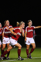 14 September 2007: Stanford Cardinal Allison Falk (center) and Rachel Buehler (15) during Stanford's 3-2 win in the Stanford Invitational against the Missouri Tigers at Maloney Field in Stanford, CA.