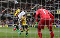 Borja Baston of Swansea City contends withChristian Kabasele of Watford during the Premier League match between Watford and Swansea City at Vicarage Road Stadium, Watford, England, UK. Saturday 15 April 2017