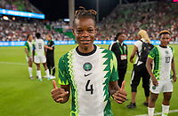 AUSTIN, TX - JUNE 16: Glory Ogbonna #4 of Nigeria poses for a photo during a game between Nigeria and USWNT at Q2 Stadium on June 16, 2021 in Austin, Texas.