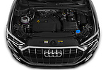 Car Stock 2021 Audi Q3 S-line 5 Door SUV Engine  high angle detail view