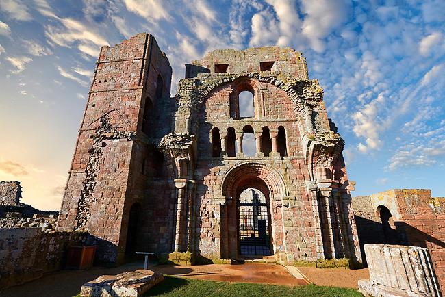 The Anglo Saxon Romanesque Lindisfarne Abbey ruins,  Holy Island, Lindisfarne, Northumbria, England