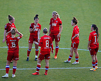 Reading have a team talk during a break in play during Tottenham Hotspur Women vs Reading FC Women, Barclays FA Women's Super League Football at the Hive Stadium on 7th November 2020