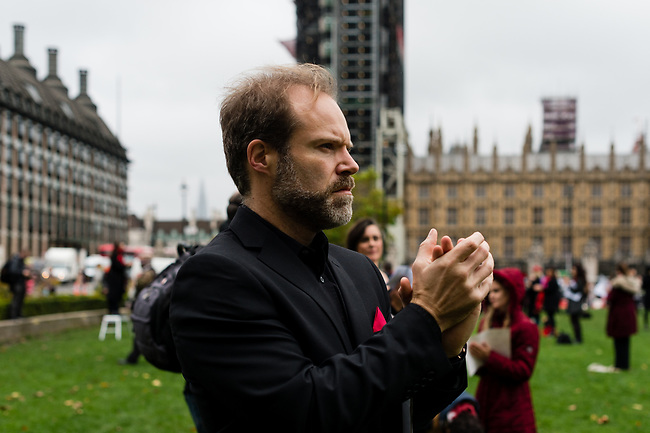 """Opera members from the events industry gather during the #WeMakeEvents - """"Survival in the Square"""" protest at Parliament Square on October 30, 2020 in London, United Kingdom. The aim is to showcase the breadth of live events and the technical supply chain that support them, and that live events need government policies in place to help people to return to work and further financial aid until everyone can return. The protest has been organised by We Stand As One #WeMakeEvents who are calling for meaningful support from the Government until the industry is allowed to operate for an industry that provides over 600,000 jobs in UK. Photo: AMMP/Maciek Musialek"""