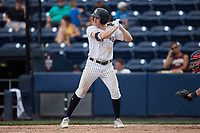 Kyle Holder (8) of the Scranton/Wilkes-Barre RailRiders at bat against the Rochester Red Wings at PNC Field on July 25, 2021 in Moosic, Pennsylvania. (Brian Westerholt/Four Seam Images)