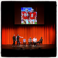 """WALNUT CREEK, CA - JANUARY 16:  iPhone Instagram of former San Francisco 49er greats Steve Young, Eric Wright, Brent Jones, and Dwight Hicks on stage with NBC Sports Bay Area's Matt Maiocco at the """"Letters to 87 LIVE"""" fund raising event at the Lesher Center for the Arts on January 16, 2020 in Walnut Creek, California. (Photo by Brad Mangin)"""