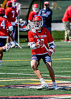 1 May 2021: Stony Brook University Seawolves Midfielder Matt DeMeo, a Graduate Student from Sayville, NY, in action against the University of Vermont Catamounts at Virtue Field in Burlington, Vermont. The Cats edged out the Seawolves 14-13 with less than one second to play in their America East Men's Lacrosse matchup. Mandatory Credit: Ed Wolfstein Photo *** RAW (NEF) Image File Available ***
