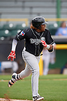 Lansing Lugnuts third baseman Vladimir Guerrero Jr. (27) runs to first base during a game against the Clinton LumberKings on May 9, 2017 at Ashford University Field in Clinton, Iowa.  Lansing defeated Clinton 11-6.  (Mike Janes/Four Seam Images)