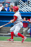 Williamsport Crosscutters outfielder Kyle Hoppy #9 during a NY-Penn League game against the Batavia Muckdogs at Dwyer Stadium on August 12, 2012 in Batavia, New York.  Batavia defeated Williamsport 7-2.  (Mike Janes/Four Seam Images)