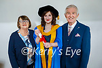 Muireann O'Sullivan from Tralee who recently graduated from UCD in Thematic PhD in Inclusive Design and Creative Technology Innovation, standing with her parents Múirís and Mary O'Sullivan.