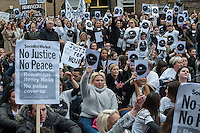 Friends and family of Henry Hicks who died while being chased by police in December 2014 hold a protest march around Islington and outside the local Police Station 4-4-15