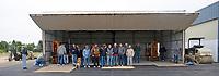 Petaluma Area Pilots Association volunteer work on the club hangar, Petaluma Municipal Airport, Petaluma, California