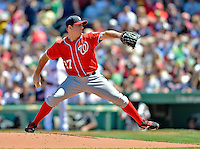 10 June 2012: Washington Nationals pitcher Jordan Zimmermann on the mound against the Boston Red Sox at Fenway Park in Boston, MA. Harper scored the game winning run in the 9th inning as the Nationals defeated the Red Sox 4-3 to sweep their 3-game interleague series. Mandatory Credit: Ed Wolfstein Photo