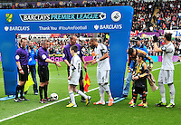 Swansea v Norwich, Liberty stadium Swansea, Saturday 29th March 2014<br /> <br /> Photographs by Amy Husband<br /> <br /> Swansea and Norwich players shake hands before kick off.