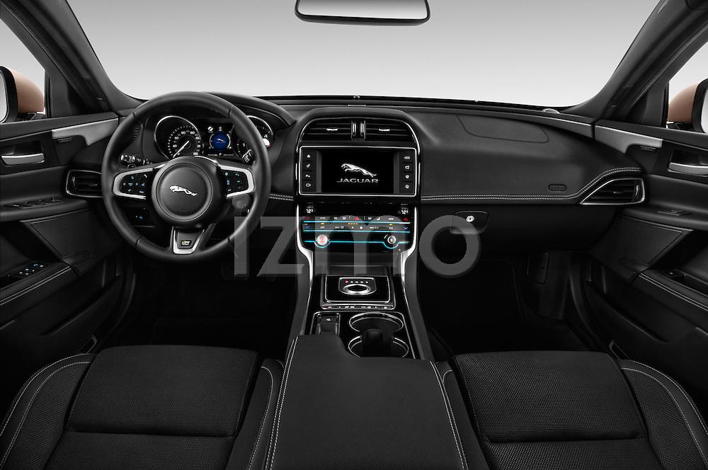 Stock photo of straight dashboard view of 2017 Jaguar XE 4dr-Sdn-20d-R-Sport-RWD 4 Door Sedan Dashboard