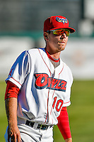 Alex Abbott (10) of the Orem Owlz before the game against the Ogden Raptors in Pioneer League action at Home of the Owlz on June 25, 2016 in Orem, Utah. Orem defeated Ogden 4-1.  (Stephen Smith/Four Seam Images)