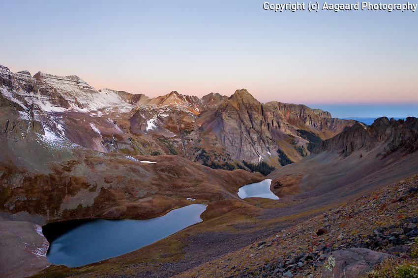 Blue Lakes Basin from the Blue Lakes Pass trail, early morning.<br /> <br /> Taken while hiking from the Upper Blue Lake (the closest body of water) to Blue Lakes Pass.  My tent is slightly to the right of the upper lake, on the rise between the two lakes.  Its green color blended in with the background.<br /> <br /> Canon EOS 5D Mk II, 24mm f/2.8 lens