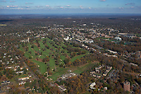 aerial photograph of Springdale Golf Course, Princeton University, Princeton, Mercer County, New Jersey.  The Graduate College is visible to the left behind the Golf Course, Princeton Stadium is on the right,