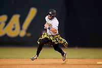 Savannah Bananas Logan Foster (14) running the bases during a Coastal Plain League game against the Macon Bacon on July 15, 2020 at Grayson Stadium in Savannah, Georgia.  Savannah wore kilts for their St. Patrick's Day in July promotion.  (Mike Janes/Four Seam Images)