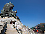 People's Republic of China, Hong Kong: Big Buddha statue at the Po Lin Monastery,  near Ngong Ping, on Lantau Island | Volksrepublik China, Hongkong, Lantau Island, bei Ngong Ping: die Big Buddha Statue (Tian Tan Buddha) beim Kloster Po Lin