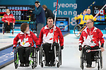 Mark Ideson, Marie Wright, and Dennis Thiessen, PyeongChang 2018 - Wheelchair Curling // Curling en fauteuil roulant.<br /> Canada plays Sweden in Wheelchair curling // Le Canada affronte la Suède au curling en fauteuil roulant.<br /> 11/03/2018.
