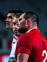 Assistant referee Angus Gardner (centre) looks at Lions captain Ken Owens (right) as they wait for the TMO decision for Sonny Bill Williams' try during the 2017 DHL Lions Series rugby union match between the Blues and British & Irish Lions at Eden Park in Auckland, New Zealand on Wednesday, 7 June 2017. Photo: Dave Lintott / lintottphoto.co.nz