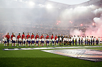 Club Atletico de Madrid and Olympique de Marseille teams line up before the start of their UEFA Europa League final football match at the Groupama Stadium in Decines-Charpieu, near Lyon, France, May 16, 2018.<br /> UPDATE IMAGES PRESS/Isabella Bonotto