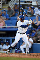 Dunedin Blue Jays outfielder Derrick Loveless (14) at bat during a game against the Clearwater Threshers on April 10, 2015 at Florida Auto Exchange Stadium in Dunedin, Florida.  Clearwater defeated Dunedin 2-0.  (Mike Janes/Four Seam Images)