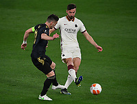 Football: Europa League - quarter final 2nd leg AS Roma vs Ajax, Olympic Stadium. Rome, Italy, March 15, 2021.<br /> Roma's Bryan Cristante (R) in action with Ajax's captain Dusan Tadic (L) during the Europa League football match between Roma at Rome's Olympic stadium, Rome, on April 15, 2021.  <br /> UPDATE IMAGES PRESS/Isabella Bonotto