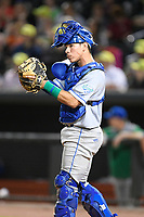 Catcher Freddy Fermin (4) of the Lexington Legends plays defense in a game against Columbia Fireflies on Friday, May 3, 2019, at Segra Park in Columbia, South Carolina. Lexington won, 5-2. (Tom Priddy/Four Seam Images)