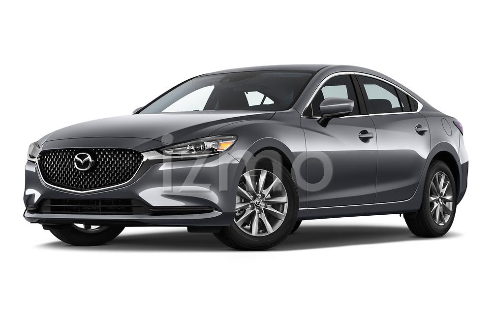 Stock pictures of low aggressive front three quarter view of a 2019 Mazda Mazda6 Sport 4 Door Sedan