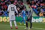Getafe CF's David Soria and Real Sociedad's Juan Miguel Jimenez during La Liga match between Getafe CF and Real Sociedad at Coliseum Alfonso Perez in Getafe, Spain. December 15, 2018. (ALTERPHOTOS/A. Perez Meca)