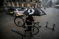 Just as the race finishes, a serious thunderstorm (including hail), hits the area and the Mitchelton-Scott crew (already working in their hotel very nearby) simply keep on going & even make the best of the gnarly situation<br /> <br /> Stage 18: Embrun to Valloire (208km)<br /> 106th Tour de France 2019 (2.UWT)<br /> <br /> ©kramon